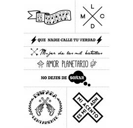 Set de 8 tatuajes con diferentes frases, resistentes al agua