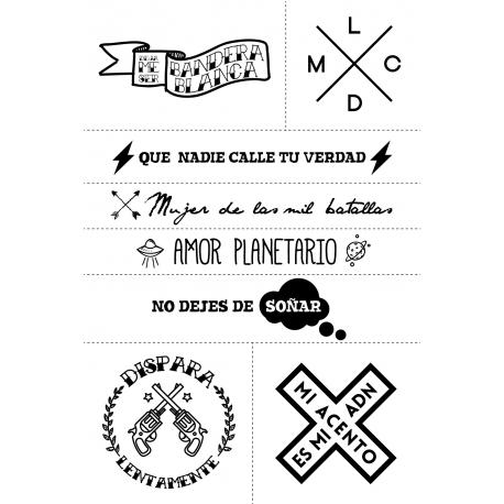 Set De 8 Tatuajes Con Diferentes Frases Resistentes Al Agua Manuel Carrasco Store